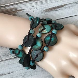 Boho Turquoise dyed wood bead brown cord bracelet